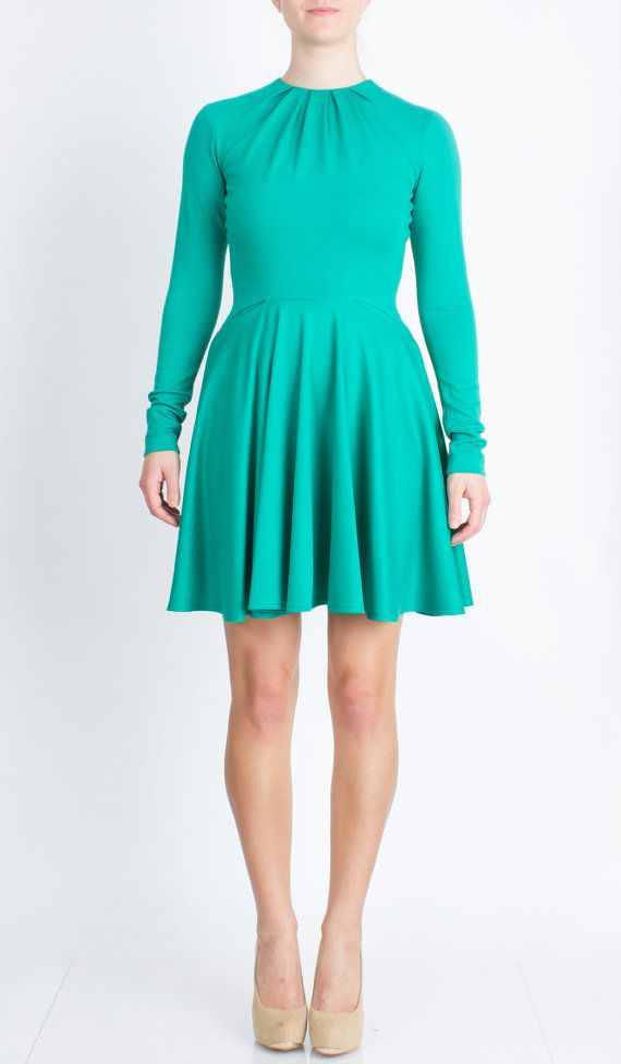 Fit and Flare Jade Green Dress with Long Sleeves and by TetianaK, $170.00