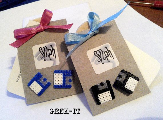 Earrings made of Hama Mini Beads  Geek IT by SylphDesigns on Etsy, €5.00