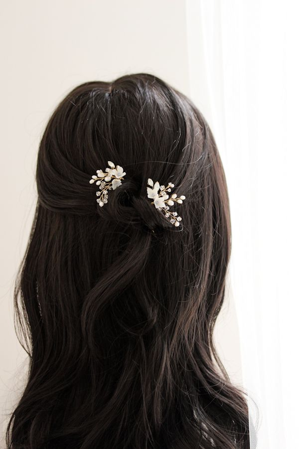 Beauty in Bloom | Something Blue bridal hair pins by Percy Handmade