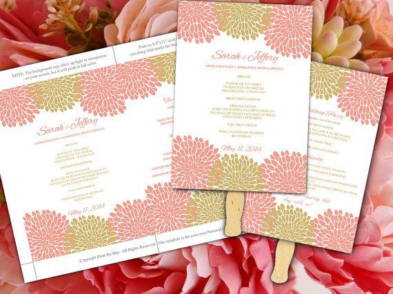 Downloadable Coral And Gold Wedding Fan Template   See More Info At Http://