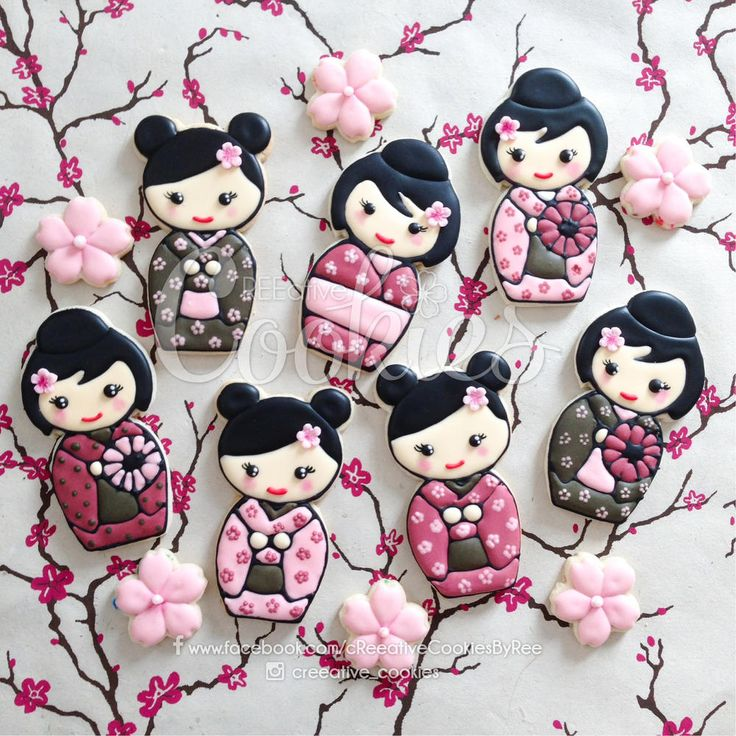 Kawaii Kokeshi Doll Cookies by cREEeative Cookies, posted on Cookie Connection