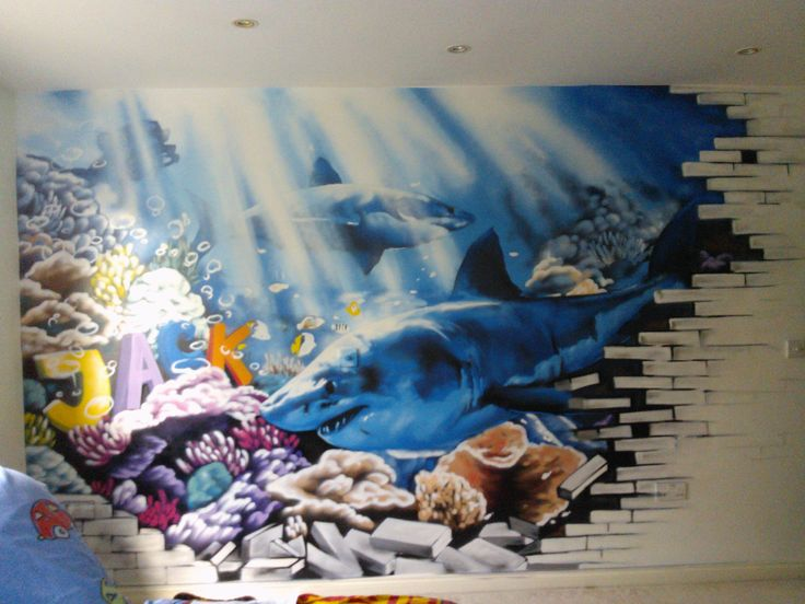 108 best kids bedroom graffiti images on pinterest teen for Aquarium mural gifi