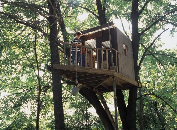 f r seine kinder ein baumhaus selber bauen gartenhaus pinterest einfaches baumhaus. Black Bedroom Furniture Sets. Home Design Ideas