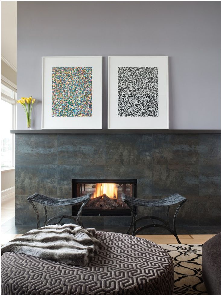 Gray and brown slate fireplace surround