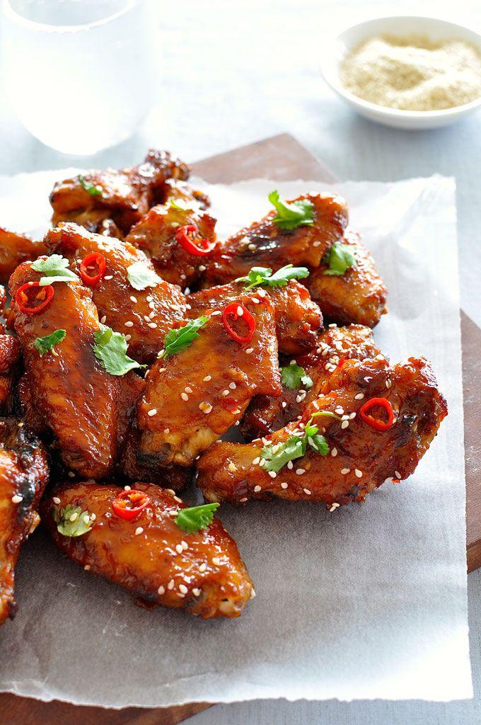Alas de pollo pegajoso chino