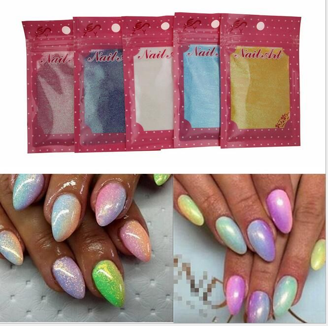 5packs New Fashion Mix color Nail Glitter Art Tips Gradient color Mermaid Effect Glitter powder Decorationwith one brush as gif