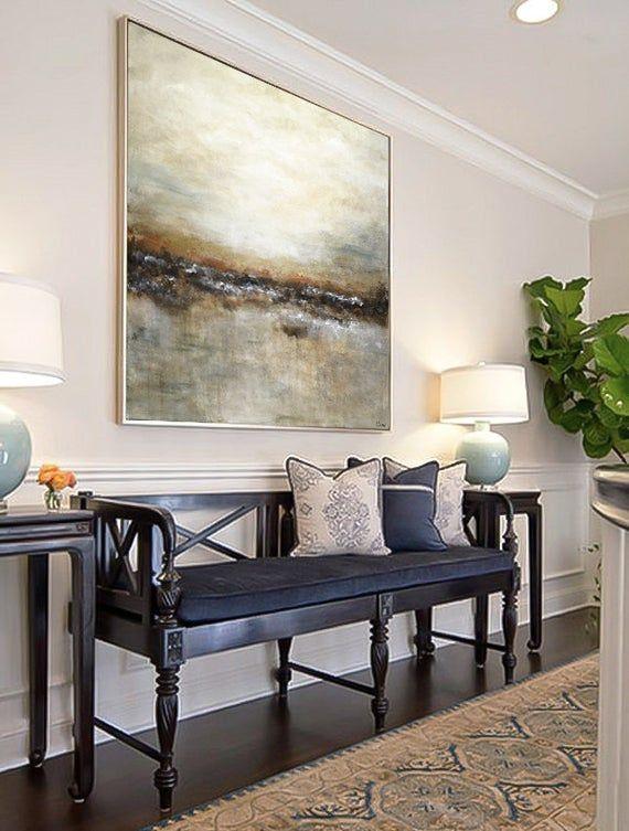 Gran paisaje abstracto original pintura tan marrón oliva moderno arte abstracto pintura al óleo arte de pared de arte grande por L.Beiboer