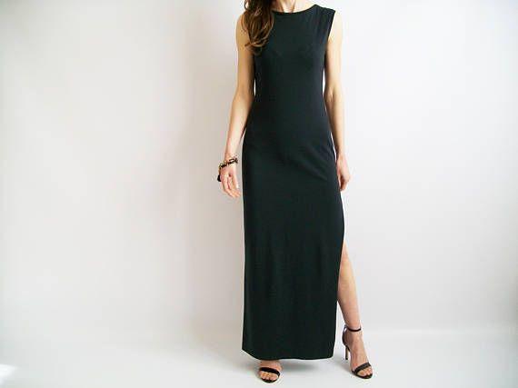 VESTITO nero / donna vestito / abito lungo / cotone abito /