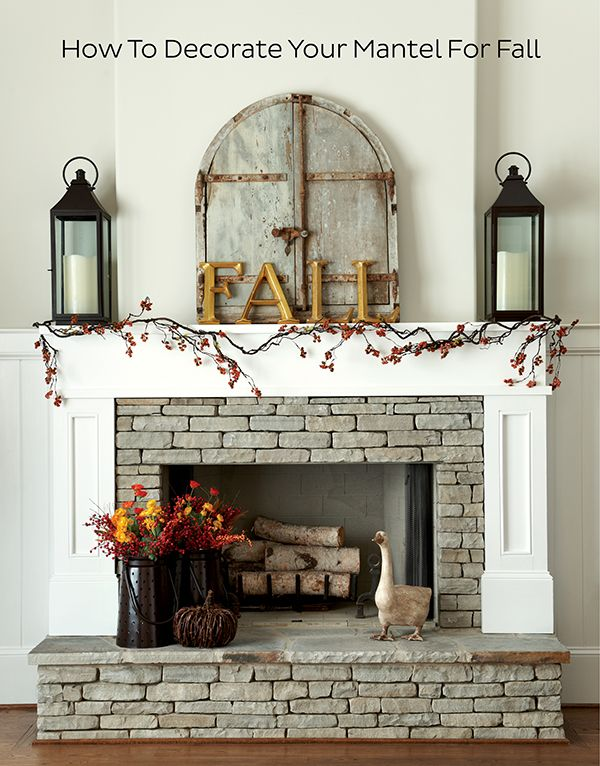 How to Decorate Your Mantel for Fall  I  via howtodecorate.com: Holiday, Fall Decor, Fall Fireplace, Fireplaces, Living Room, Fireplace Ideas