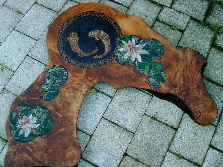 Title: Swamp Kauri & Carp Materials: Swamp Kauri, chert, petrified wood, jade SOLD New Zealand private residence