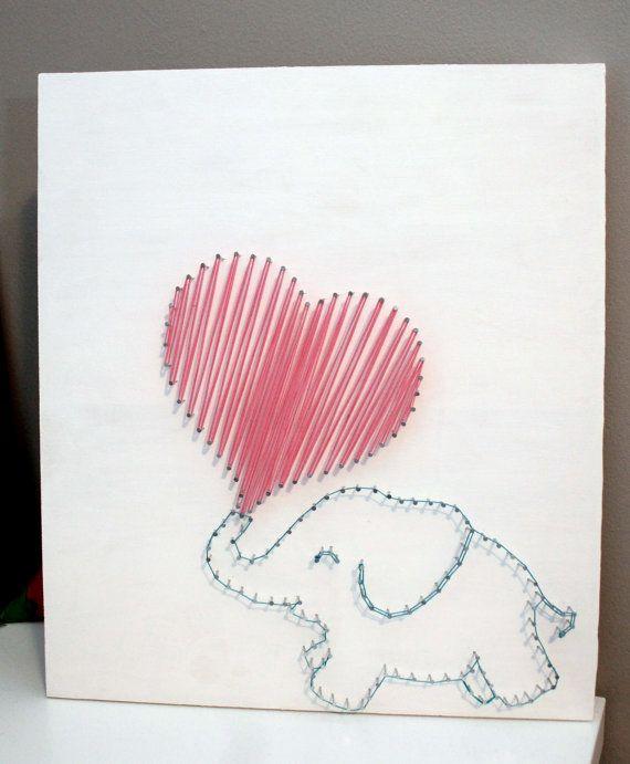 Elephant Love String Art by HPKphotography on Etsy, $45.00