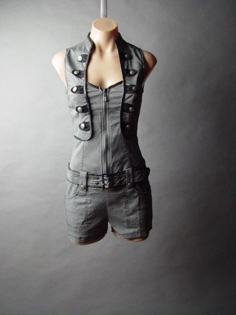 Steampunk Military Sky Pirate Airship Fighter Pilot Top Belt Short Suit Romper M