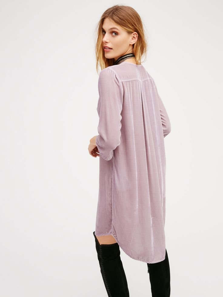 She's Got It Velvet Shirt Dress | American made, this effortless shirtdress is in a beautiful velvet with hip pockets and a V-neckline. Three-quarter length sleeves with a subtle high low rounded hem.