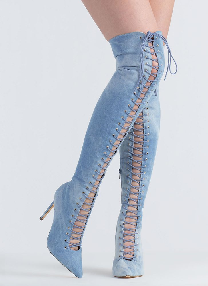 5afab2d15315 On Point Denim Lace-Up Thigh-High Boots DENIM