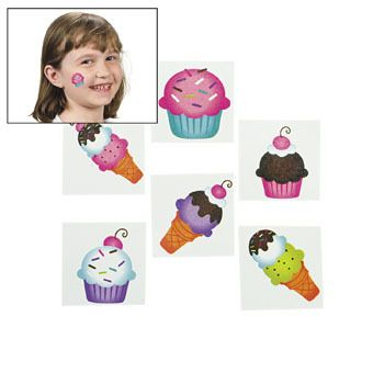 Sweet Treats Glitter Tattoos (35) :  These are perfect for your next birthday party. Add them to treat bags for your friends! Easy to apply and remove. Non-toxic.  3.81cm