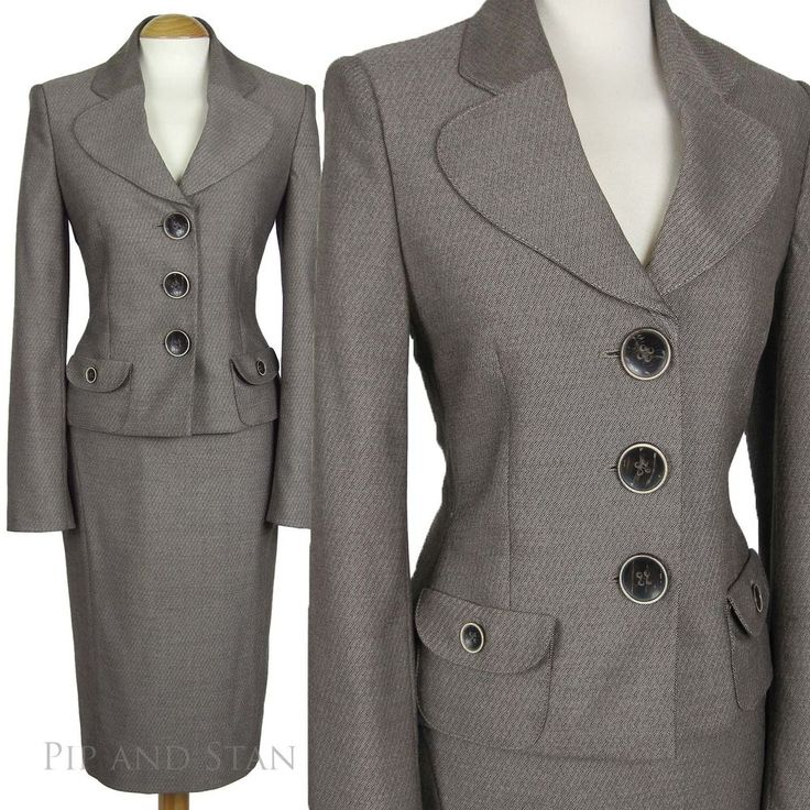 NEXT PENCIL SKIRT SUIT 50S INSPIRED BEIGE INTERVIEW OFFICE WOMENS LADIES SIZE - Pip and Stan