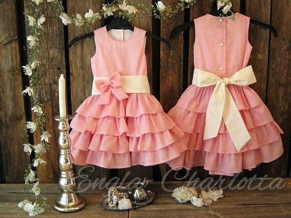 Light pink flower girl dress. Girls ruffle dress, linen flower girl dress. Beach wedding flower girl. Toddler flower girl dress with sash on Etsy, $72.22
