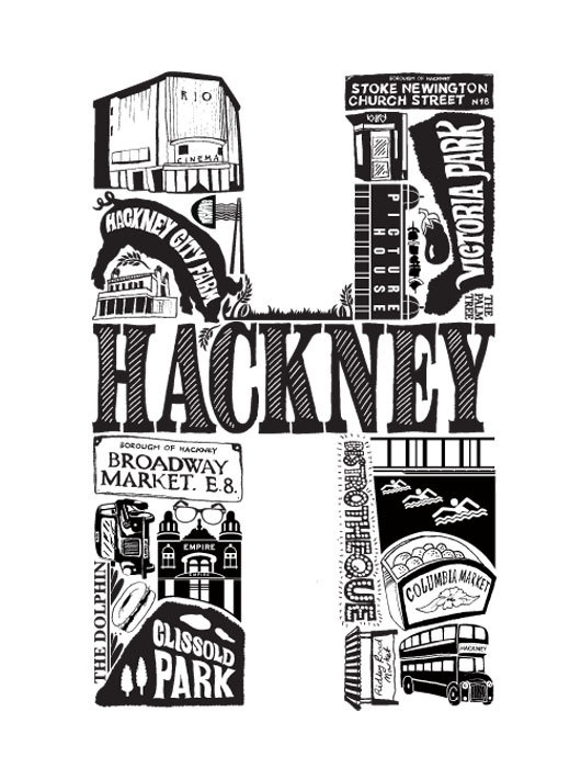 Best of Hackney limited edition screenprint - part of a London series