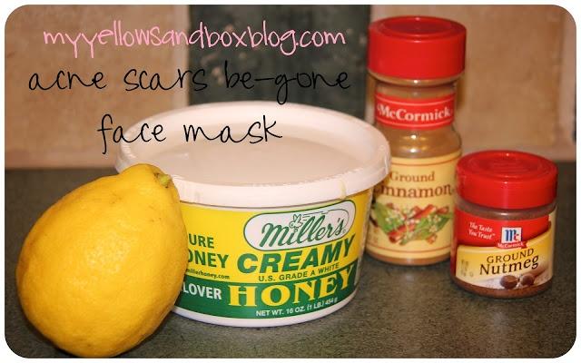 The acne scars be-gone face mask/The burning face mask.     Recipe:  1/2 tsp cinnamon  1/2 tsp nutmeg  1 tsp honey  2ish tsp lemon juice.  (I used the juice from 1/4 of a lemon)