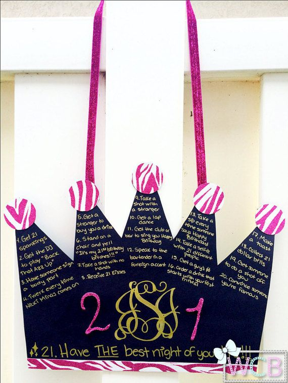 21st Birthday Checklist Sign Crown Shape by WCBCraftStudio