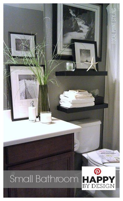 Small Bath Space Decor - Using window panels vs a traditional shower curtain helps to give height to a small bathroom while an over-sized framed photo helped conceal camouflage a small window for privacy. #Bathroom #Decor #HappyByDesign Lynda Quintero-Davids