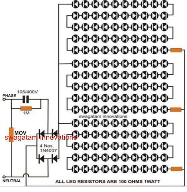 Transformerless LED tubelight circuit with MOV protection