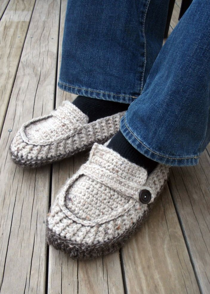 The Adult crocheted easy hand pattern slipper looks like