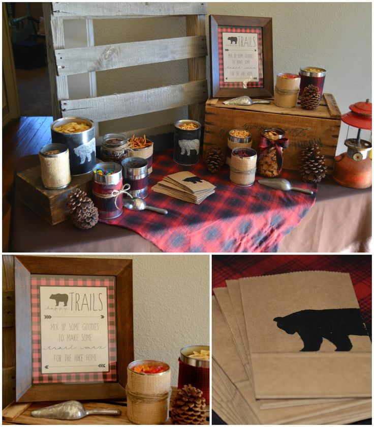 Make your own trail mix- bear party- buffalo plaid party- Trail Mix Bar- Going on a Bear Hunt
