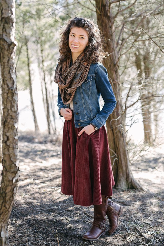 Outfit // Winter Woodland - Corduroy skirt with pockets. Top tucked in with a denim jacket over it. Thick infinity scarf. Tall boots. Watch. Hair half-up, half-down.