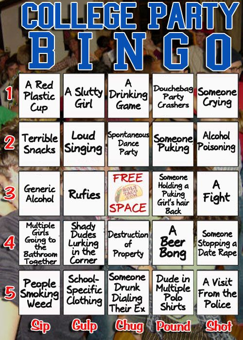 The College Party Bingo Card/Drinking Game – Holytaco