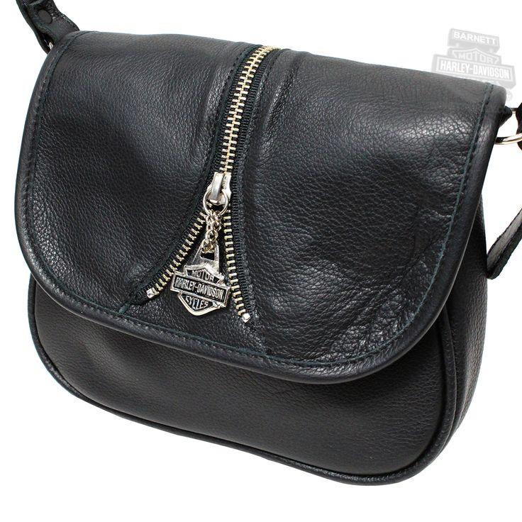 Harley Davidson Bags | HD644 - Harley-Davidson® Womens Mid Zip Handbag Purse Black Leather