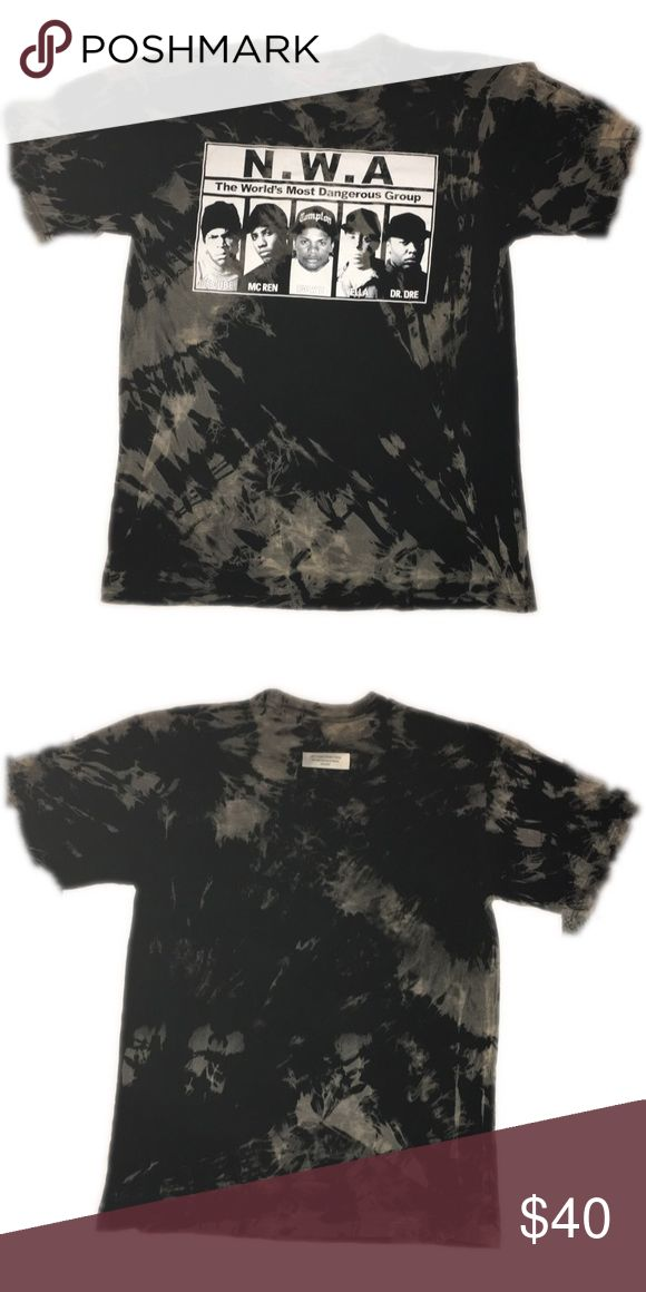 Hand bleached NWA band tee For better prices and more of our collection head to UpcycledStreetwear.com upcycled streetwear Tops Tees - Short Sleeve