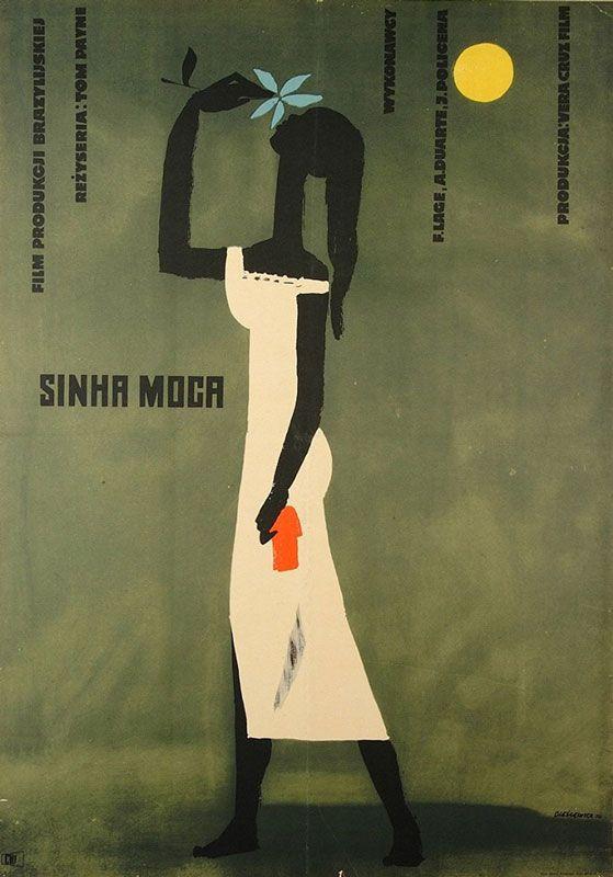 """Roman Cieślewicz, plakat do filmu """"Sinha Moca"""", reż. Tom Payne i Oswaldo Sampaio, 1956, fot. Muzeum Plakatu w Wilanowie"""
