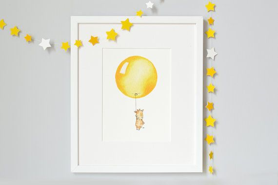 Bright Yellow Balloon Nursery Art Print New by DaisyandBumpArt, £20.00