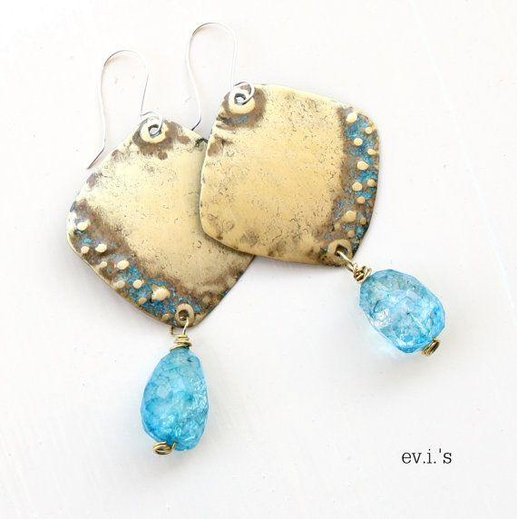 Aqua Crackle Quartz Brass Square Earrings by EVIsMetalworkJewelry, €30.00