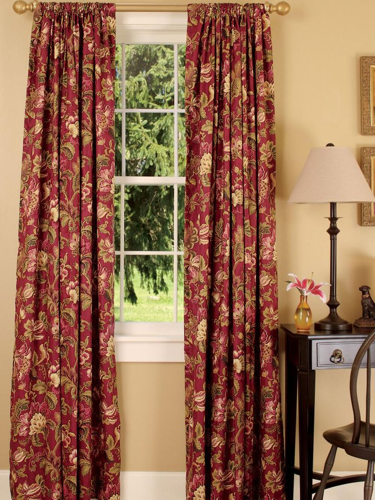 Painting Of Red Toile Curtains Decorating Ideas