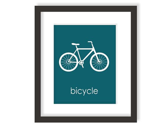 Bike Nursery Art Print in Blue, Modern Nursery Decor, Outdoors Nursery, Bicycle, Outdoor Adventure Kids Wall Art - 8x10