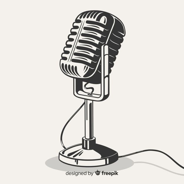 Retro Microphone Vector Old Microphone Microphone Microphone Drawing