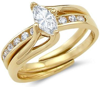 Size- 7 - Solid 14k Yellow Gold Ladies Engagement Wedding CZ Cubic Zirconia 2 Ring Set 1.0 ct Sonia Jewels,