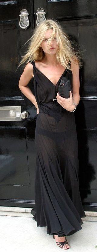black dress - kate moss