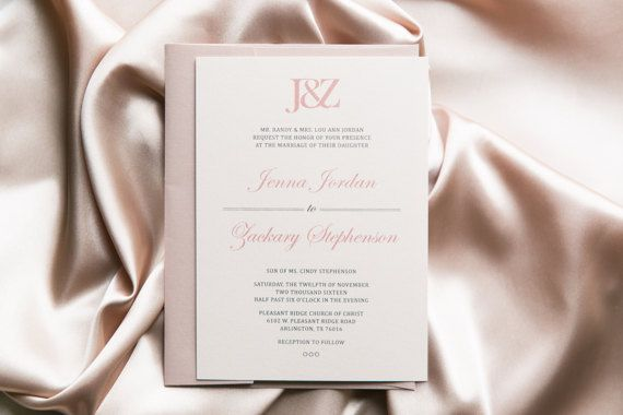 Classic Simple Modern Dusty Rose Pink and Grey Monogram Wedding Invitation, Includes Envelope Liner with RSVP