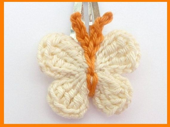 1 Cream and orange crochet butterfly hair clip by MyfanwysMakes