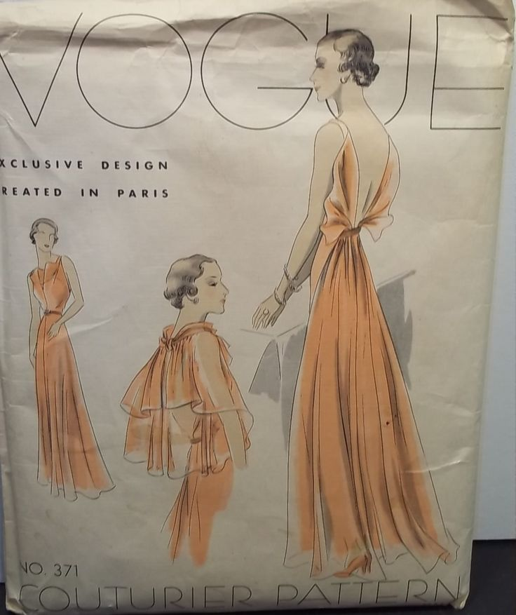 Fabulous VOGUE 1930's Couturier Evening Gown, Formal Dress Pattern UNCUT FF 16 ~ sold $342.70