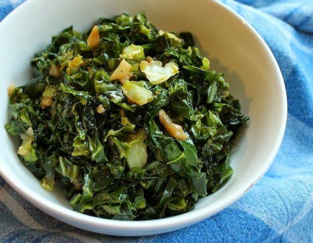 Garlicky Collard Greens - great trick on how to chop collard greens ...