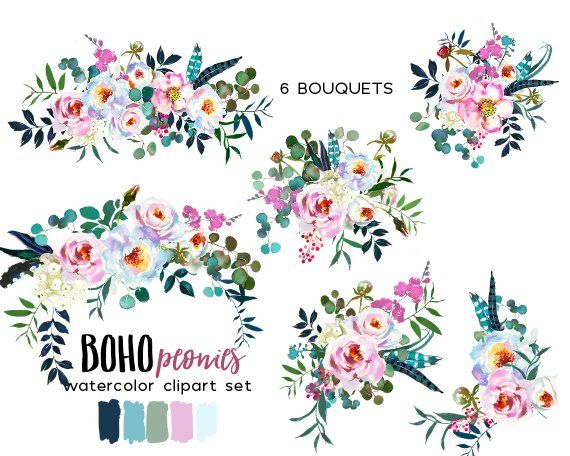 White Pink Boho Chic Watercolor Flowers Hydrangea Peonies Clipart