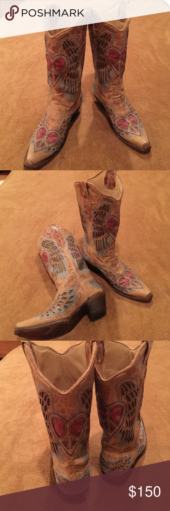 Corral vintage boots These are pretty awesome looking boots they have only been worn once in fabulous shape . Great for the rodeo, a wedding just about anything . corral Shoes Heeled Boots