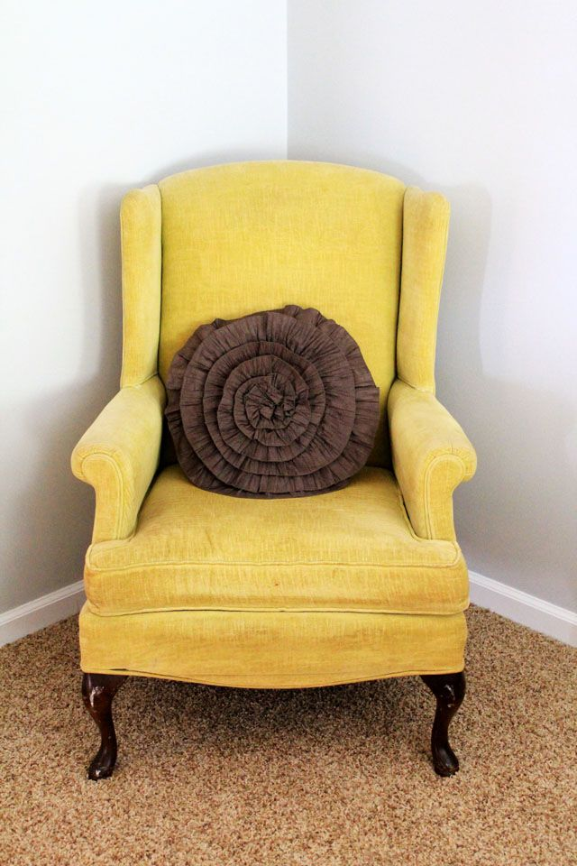 Vintage Velvet Mustard Yellow Wingback Chair Forget