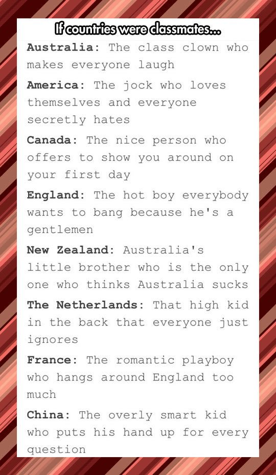 I'd date England, hang out with Australia and get America to beat up China if he refused to do my homework.