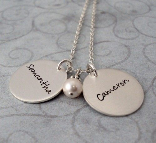 Celebrate your kids with a personalized Double Charms Name Necklace from Bliss Living.