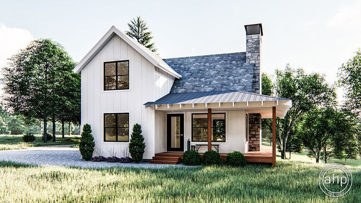 Modern Farmhouse Cabin With Cedar Posts Black Gray Tiled Roof And White Sidi In 2020 Small Farmhouse Plans Modern Farmhouse Plans Modern Farmhouse Exterior